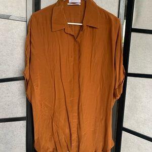 button up silk shirt